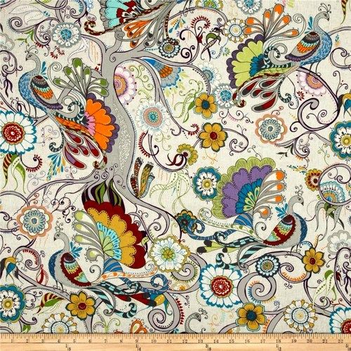 1/2 Yard Quilt Fabric Valori Wells Quill Peacock Floral White Multi
