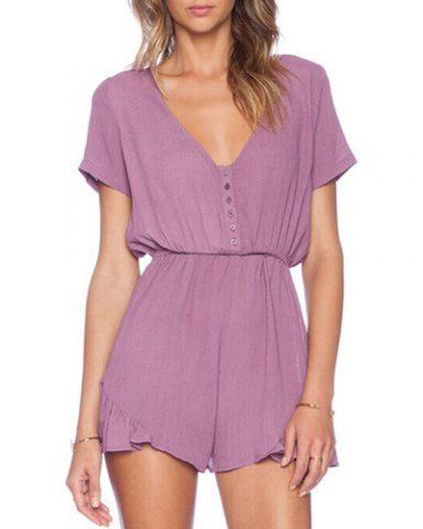 Casual V-Neck Solid Color Elastic Waist Short Sleeve Romper For Women  Jumpsuits & Rompers