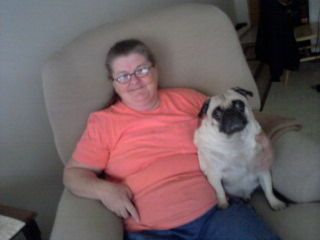 This Is Monty And My Mom Watching Tv With A Friend She Took This