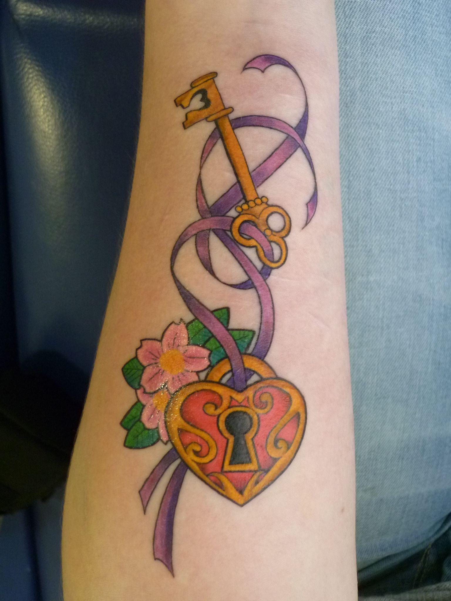 Pics photos heart lock flowers n key tattoo design - Antique Lock And Key Tattoos Key Lock Sleutel Tattoo