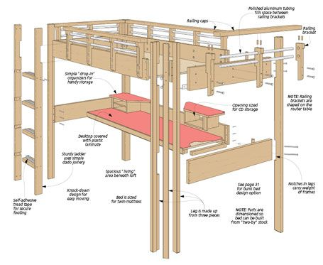 It is a picture of Crazy Printable Full Size Loft Bed Plans