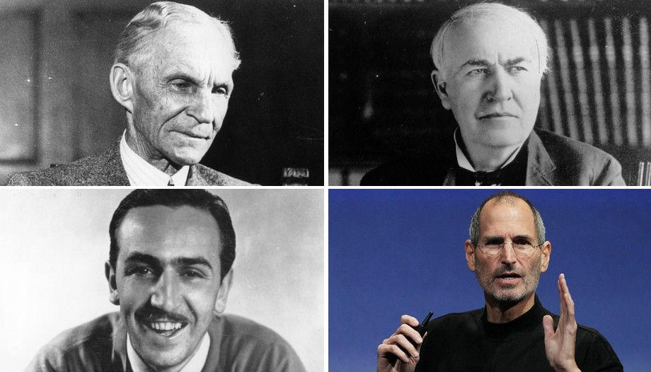 Clockwise from top left) Henry Ford, Thomas Edison, Steve Jobs - jobs that are left