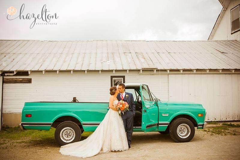 Farm Wedding at Heritage Prairie Farm   Photography By Hazelton Photography   Teal Truck   White Barn