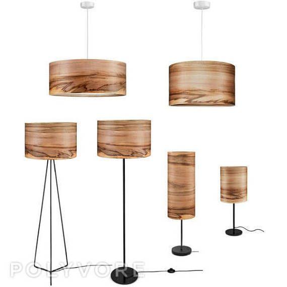 Sven Wooden Floor Lamp Veneer Shade Satin Walnut Natural Wood Lamps Lighting Modern Lampshades