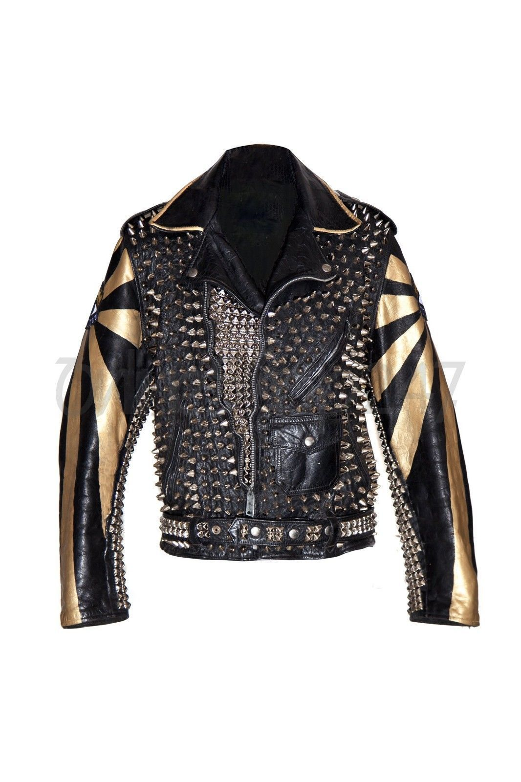 Genuine Elevtric Eye Punk Gold Silver Studs Spiked Studded Leadstyle Leather Jacket Leather Jacket Men Style Leather Jacket Studded Leather Jacket [ 1600 x 1066 Pixel ]