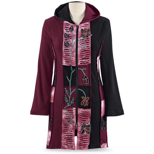 Patchwork Embroidered Hoodie Jacket ($80) ❤ liked on Polyvore featuring outerwear, jackets, gothic jackets, embroidered jacket, celtics jacket, embroidery jackets and goth jacket
