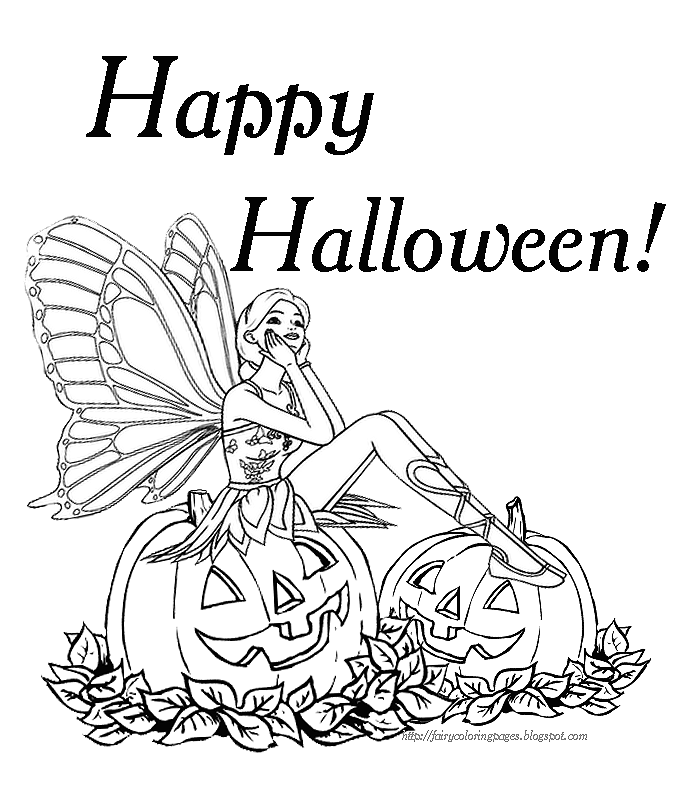 Barbie Fairy Halloween Colouring Page