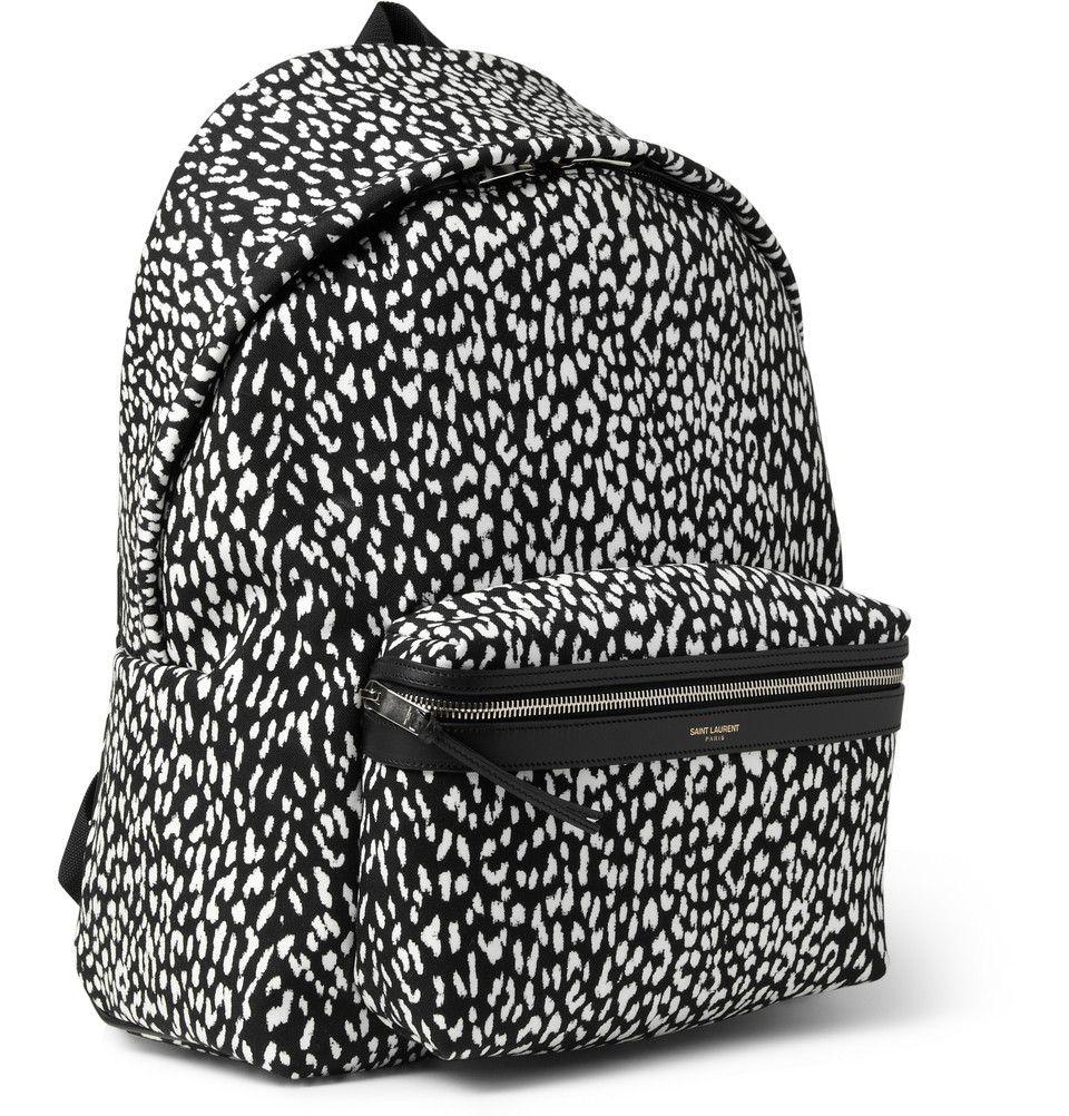 Saint Laurent - Leather-Trimmed Baby Cat-Patterned Backpack