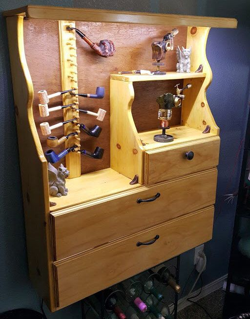 18+Pipe Handmade Lighted Tobacco Pipe Rack Cabinet by TobaccoAndSawdust on Etsy https://www.etsy.com/listing/245854057/18pipe-handmade-lighted-tobacco-pipe