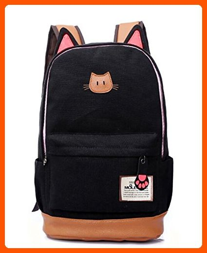 bb1d1954a865 Moolecole LMoolecole Leather   Canvas Backpack School Bag Laptop Backpack  with Cat s Ears Design