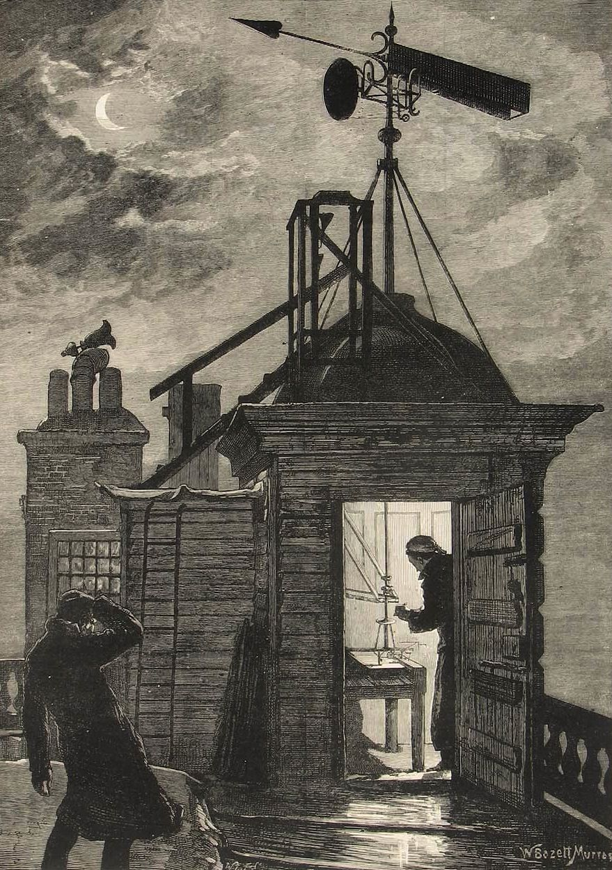 Measuring the Wind with the Osler Anemometer mounted on the roof of the western turret, The Illustrated London News, 31st of January, 1880. via royalobservatorygreenwich.org
