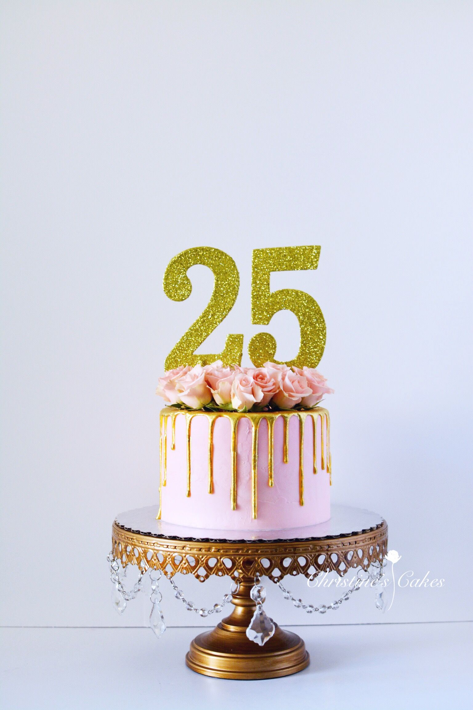 25th Birthday Cake Pink Spray Roses Floral Gold Drip