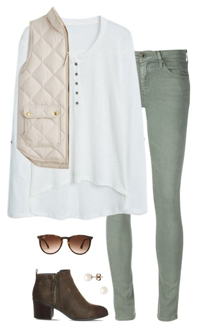 """Untitled #100"" by tessorastefan ❤ liked on Polyvore featuring AG Adriano Goldschmied, MANGO, J.Crew, Office, Ray-Ban, women's clothing, women, female, woman and misses"