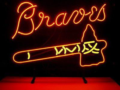 New MLB Atlanta Braves Baseball Real Glass Neon Light Beer Bar Pub Sign   eBay