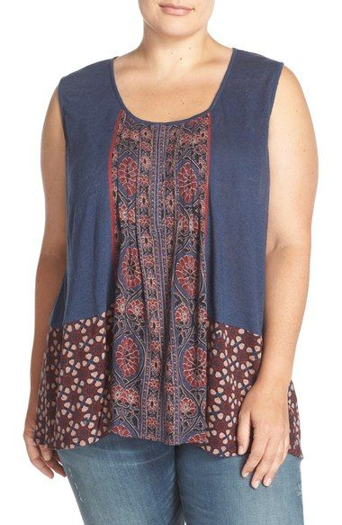 Lucky Brand Mixed Print Tank (Plus Size) available at #Nordstrom