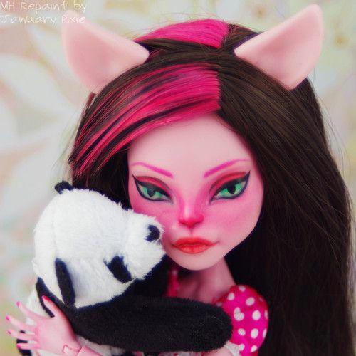 Amanda Panda OOAK Custom Monster High Pink Cat Cam Repaint 1 6 Doll | eBay