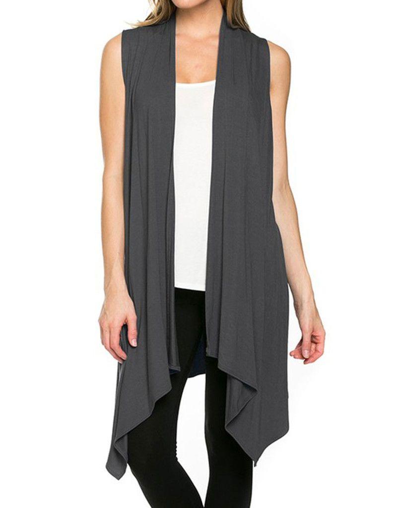 Solid Color Sleeveless Asymmetric Hem Open Front Cardigan (Dark ...