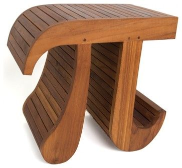 356 solid Teak scientific Pi stool (shower, bathroom, display) contemporary-shower-benches-and-seats