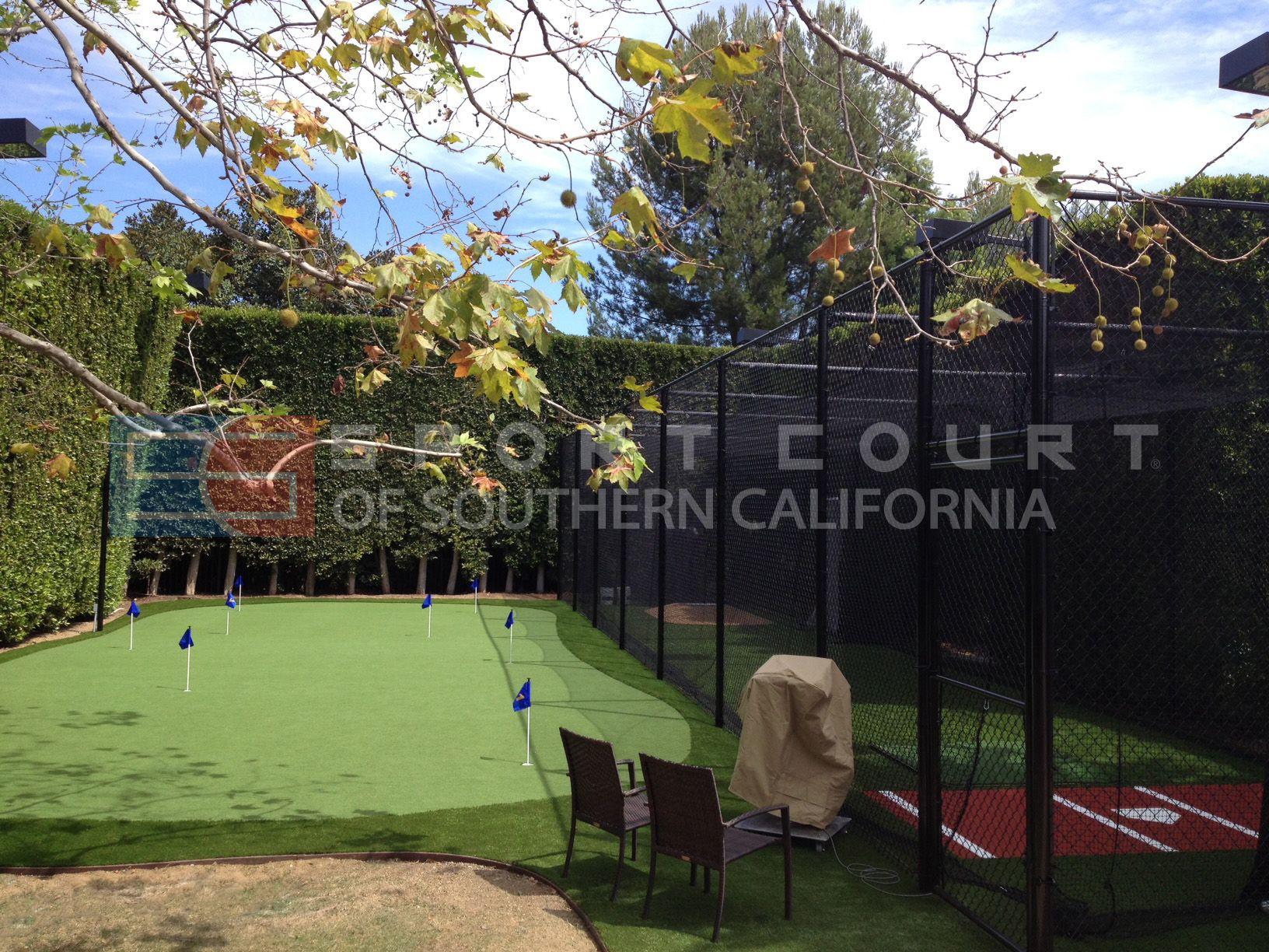 custom backyard batting cage with custom backyard putting green
