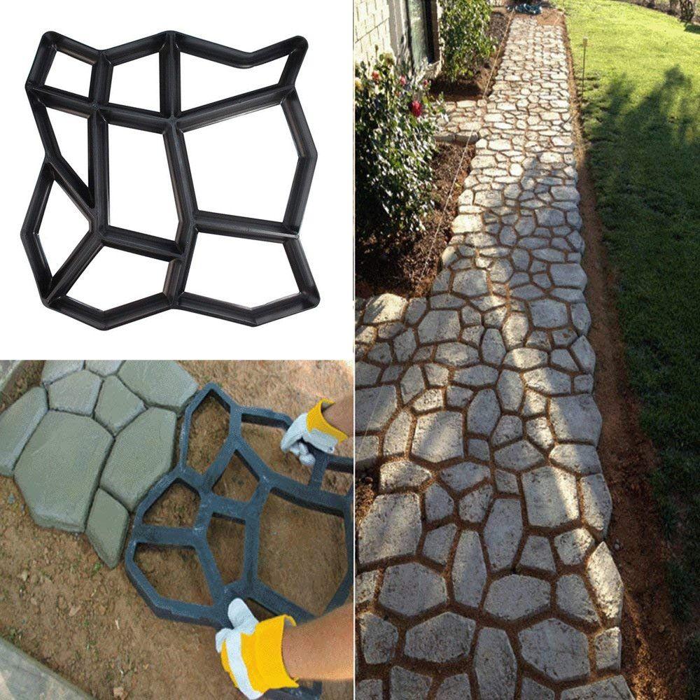 Path Maker Mold Reusable Concrete Cement Stone Design Paver Walk Mould In 2020 Diy Molding Garden Floor Concrete Path