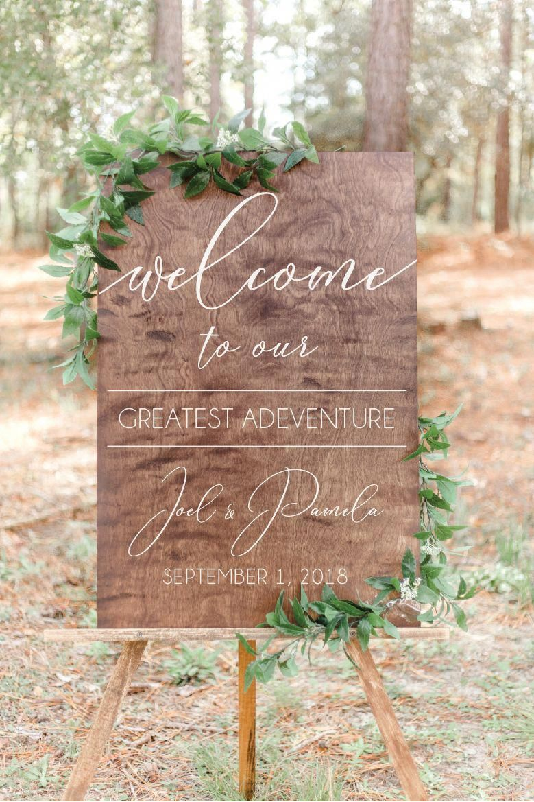 Wedding Welcome Sign | Wooden Wedding Decor | Greatest Adventure | SS-144 — Sweet Carolina Collective #weddingwelcomesign
