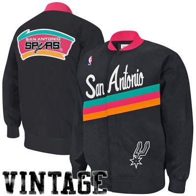 b5ea1feeddd1e  GoSpursGo  SpursGift Mitchell   Ness San Antonio Spurs Authentic Vintage  Warm-Up Jacket - Black