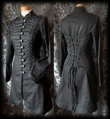gothic black braid detail lace up morbid military corset