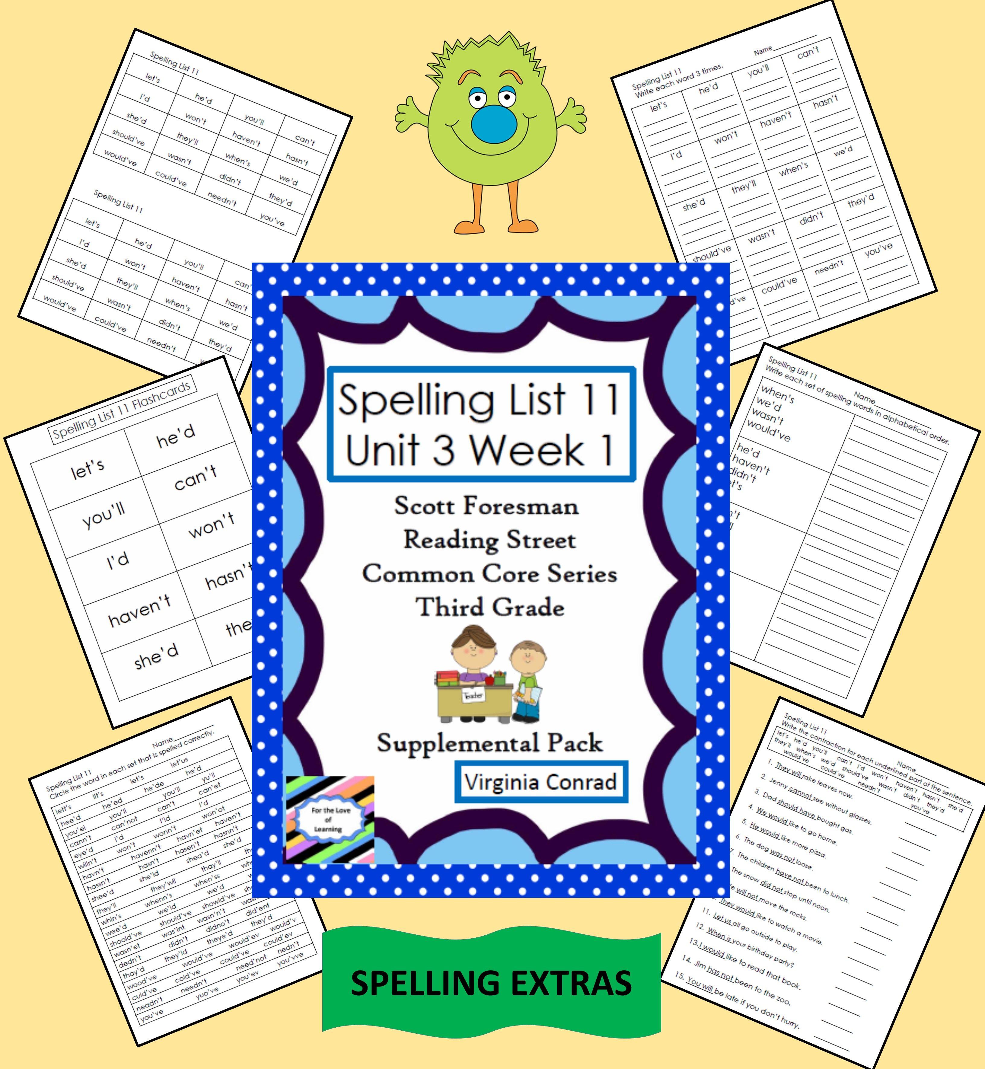 Supplemental Spelling Materials Reading Street Spelling Lists Language Arts Elementary [ 3542 x 3264 Pixel ]