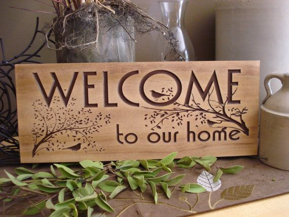 Carved Wooden Welcome Sign Nature inspired bird and tree branch ...