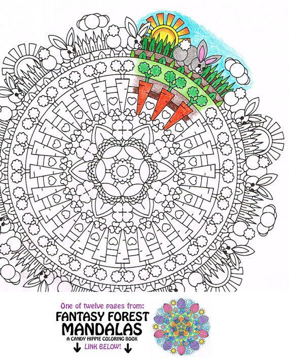 Mandala coloring page bunny clearing printable coloring