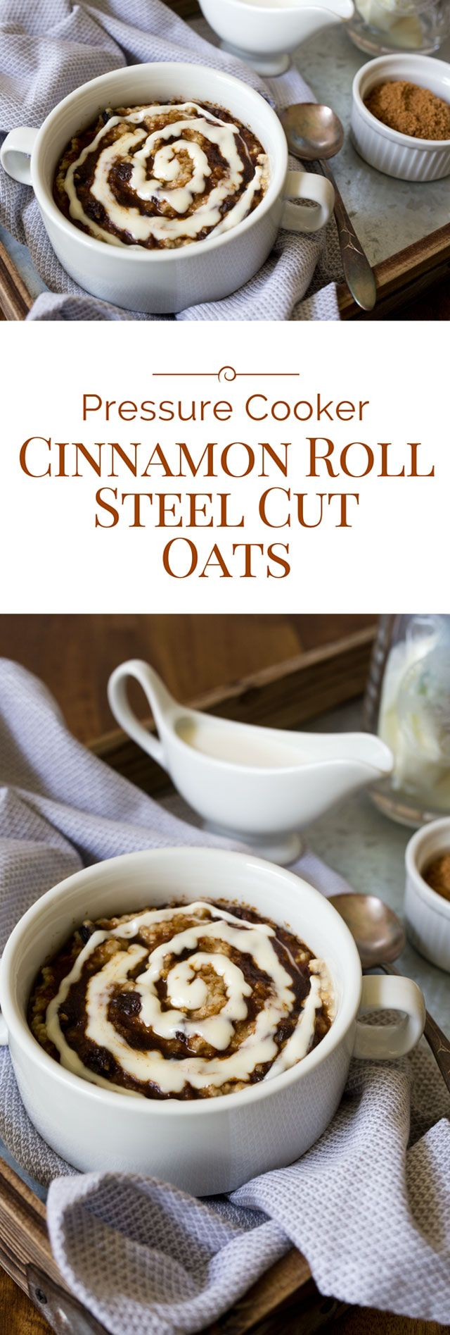 Pressure Cooker Cinnamon Roll Steel Cut Oats #strawberrycinnamonrolls