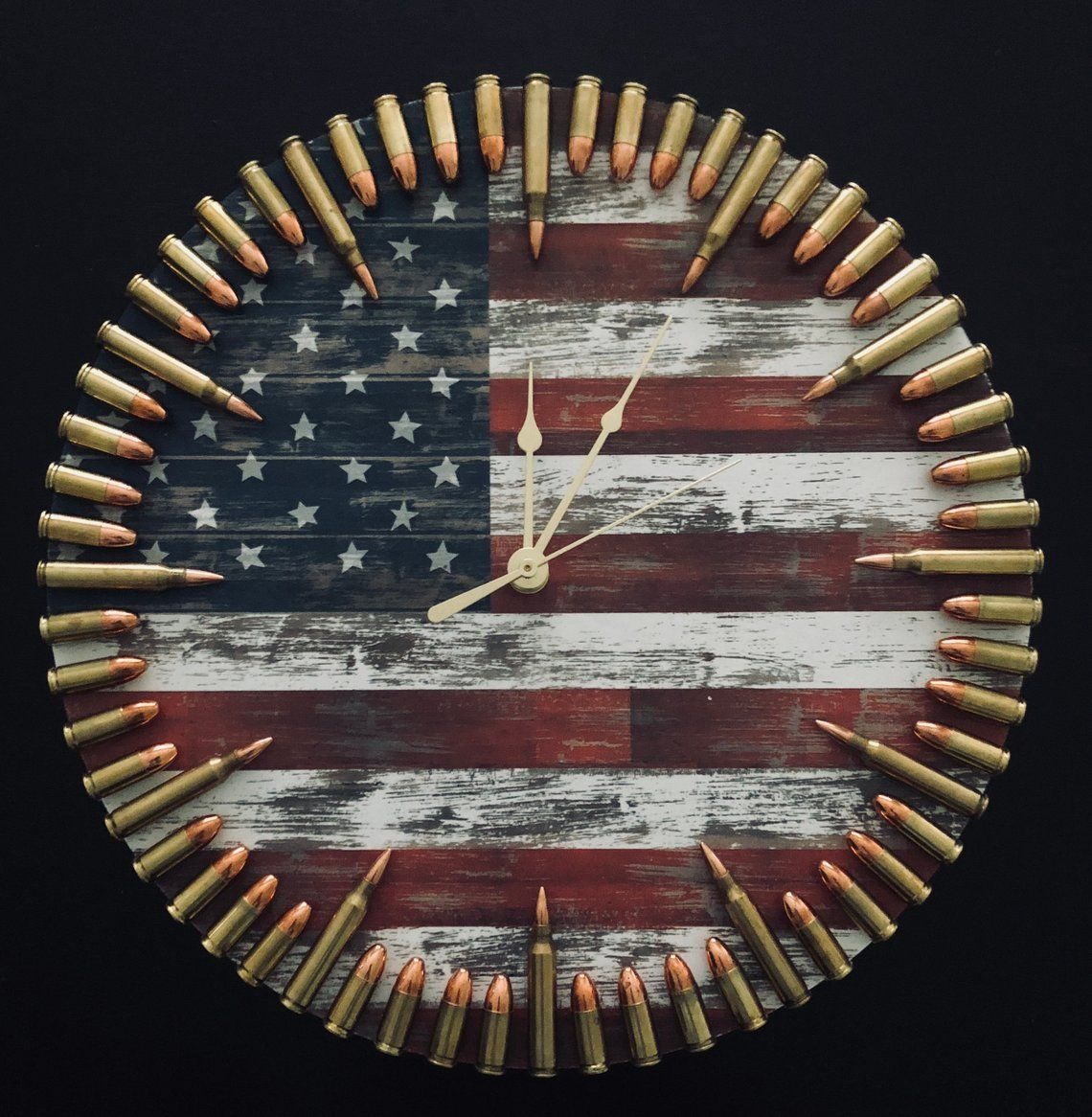 Photo of Patriotic Flag & Bullet Clock. The ultimate veteran gift and any freedom loving American