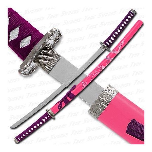 Pink katana | Korean | Pinterest ❤ liked on Polyvore featuring weapons and accessories