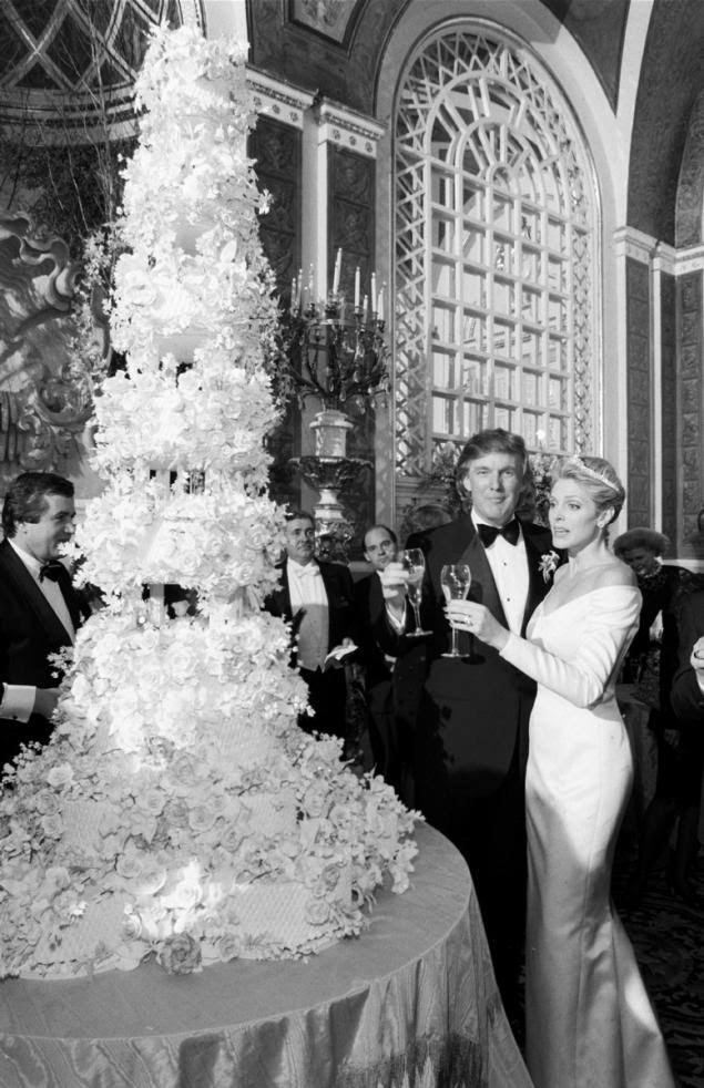 Relationships have many layers ... but not as many as Donald Trump's wedding cake. The real estate mogul married his second wife Marla Maples, a former showgirl, in the Grand Ballroom of the Plaza Hotel in New York on Dec. 20, 1993. Despite the bridal diamond tiara allegedly worth $2 million and the 6 foot cake, the couple divorced just 4 years later in 1997.