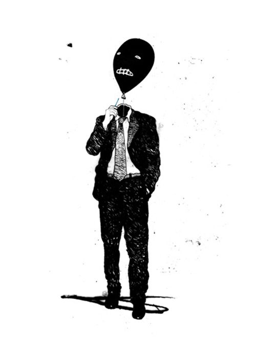 David Földvári (Hungarian, b. 1973, Budapest, Hungary, London, UK based) - Balloon Head Drawings: Ink