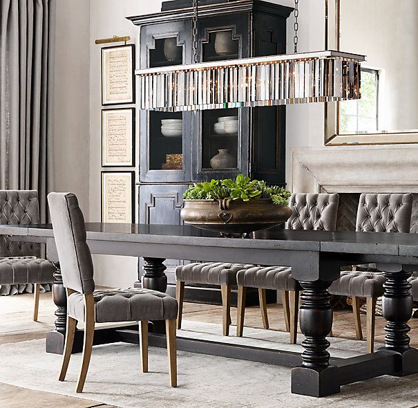 dining table restoration hardware antique black 96 extension table