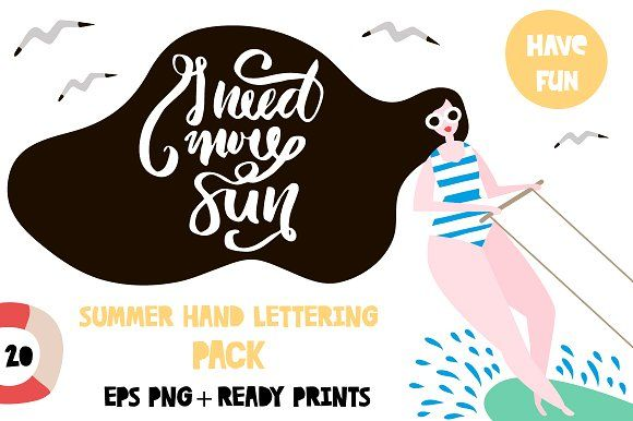 SUMMER HAND LETTERING PACK Graphics **HELLO, SUMMER! 20 HAND LETTERING  QUOTES ARE