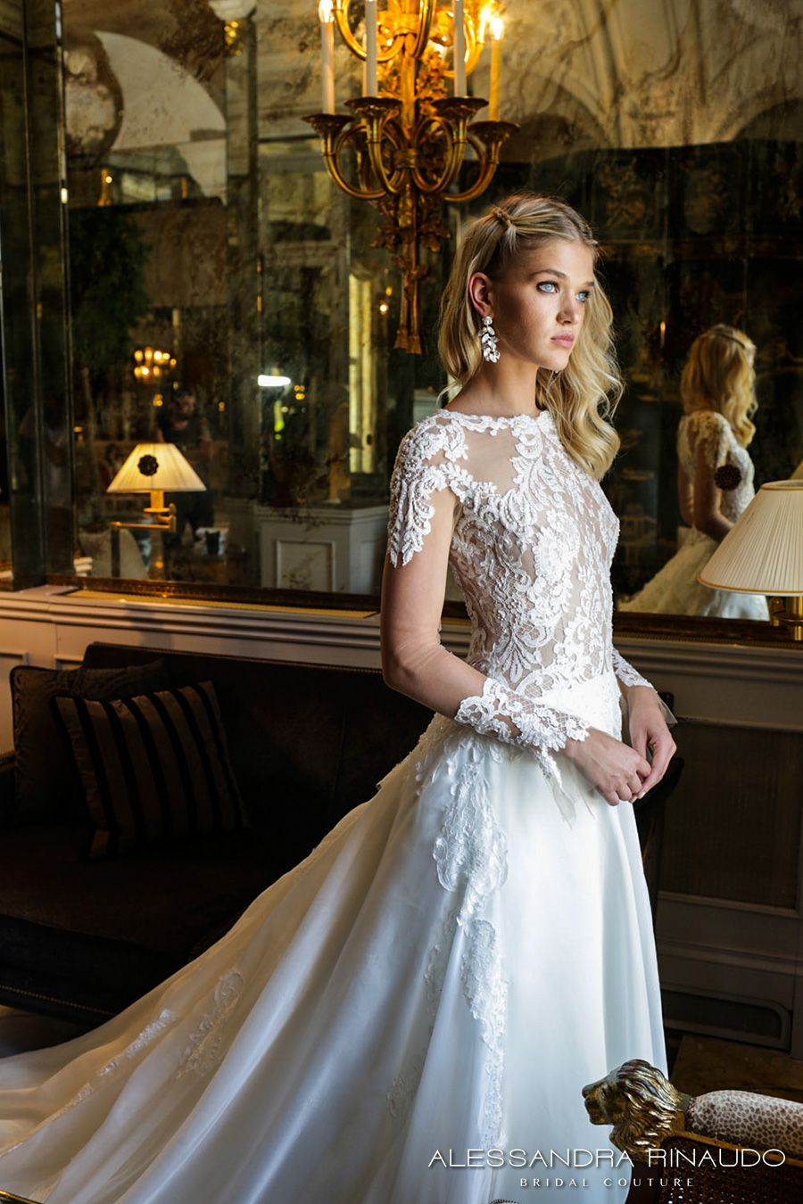 alessandra rinaudo 2017 bridal long sleeves round neck lace heavily  embellished bodice drop waist elegant a line wedding dress lace back long  train ... 199757ad561