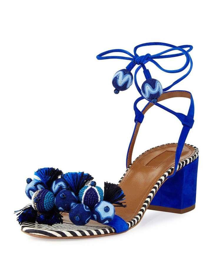 Snake Skin TROPICANA Sandals with Pom Pom Spring/summerAquazzura Xi6yhge0