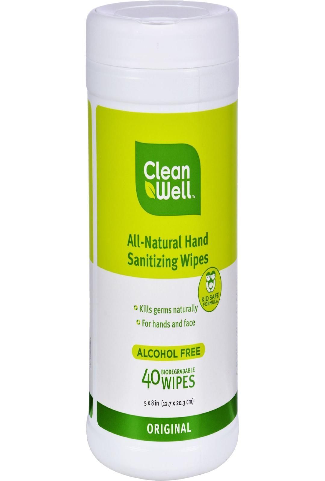 Cleanwell All Natural Hand Sanitizing Wipes Original 40 Wipes