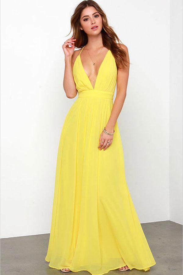 031c3eab711 Yellow Plunge V Neck Cross Back Chiffon Maxi Dress  Yellow  Dress  maykool