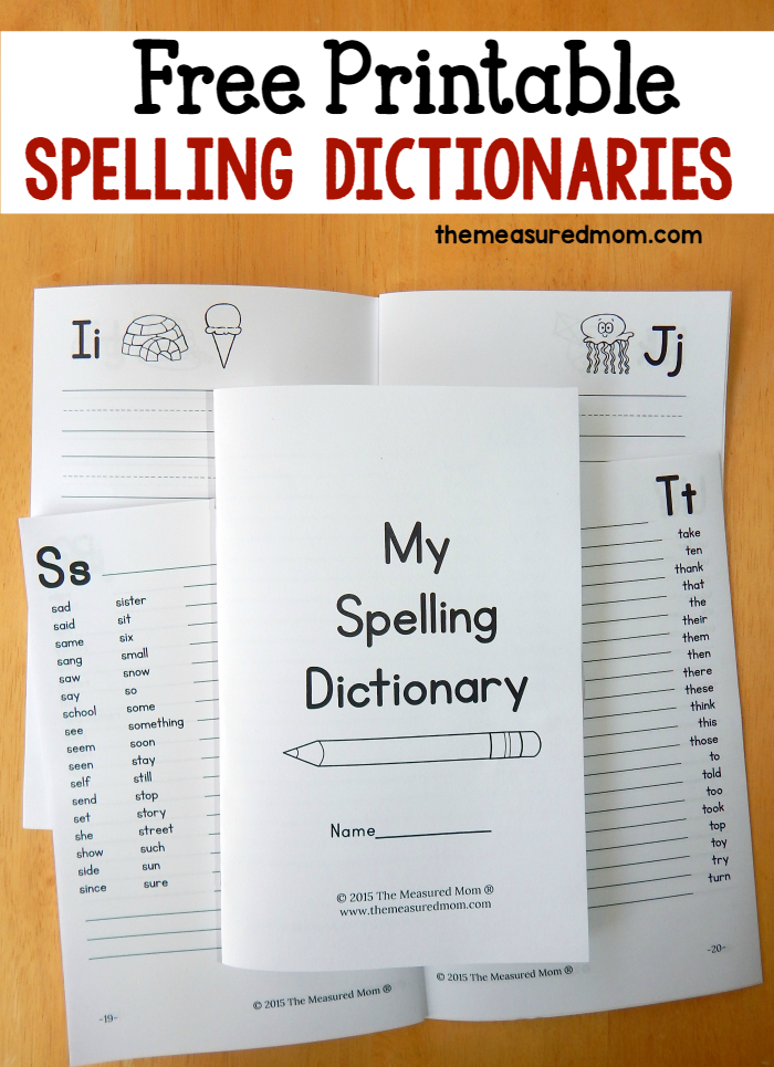 Printable Spelling Dictionary for Kids | Kind