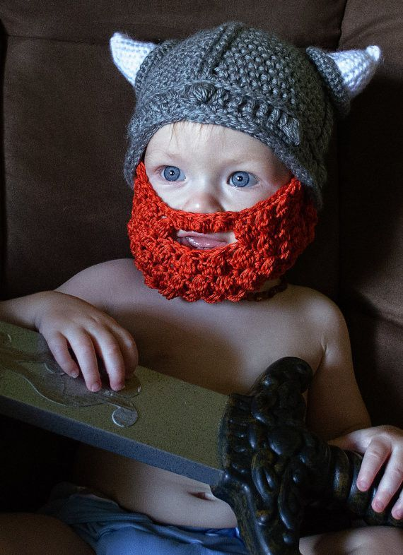 Baby Viking Gray and Red Beard Hat (fits 4 to 12 month) | Crafty ...
