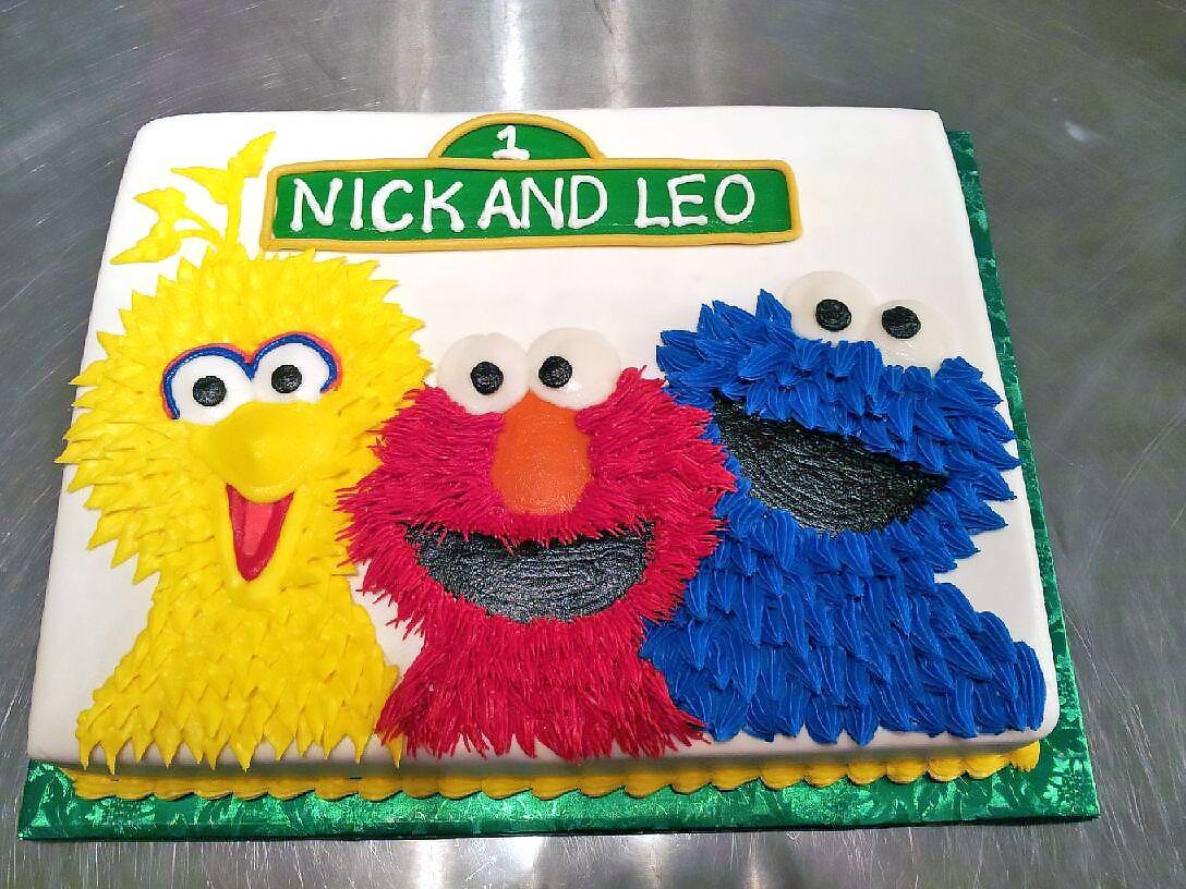1st Birthday Big Bird Cake Cookie Monster Elmo Kids Sesame