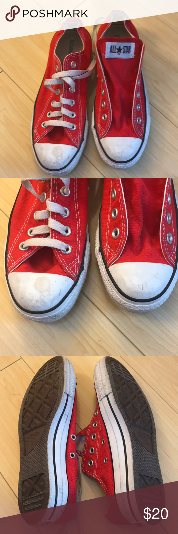 c3f837223e7c Converse All Stars Red low tops canvas sneakers Worn once. One shoe is  missing it s laces. Size 6 men size 8 women! Great shape!!!! Wear on toe as  pictured.