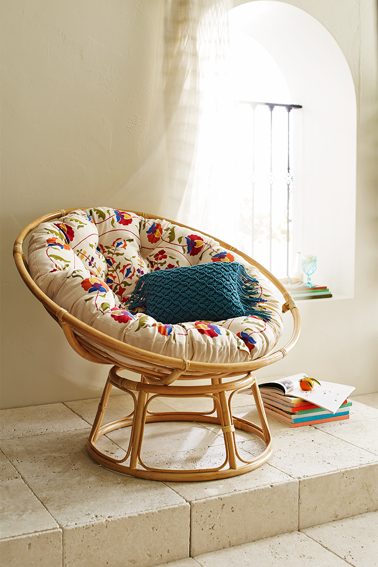 It's hard to improve on the fresh, natural, calming comfort of a Pier 1 Papasan  Chair, but this soft, durable Papasan cushion in a brightly colored ...