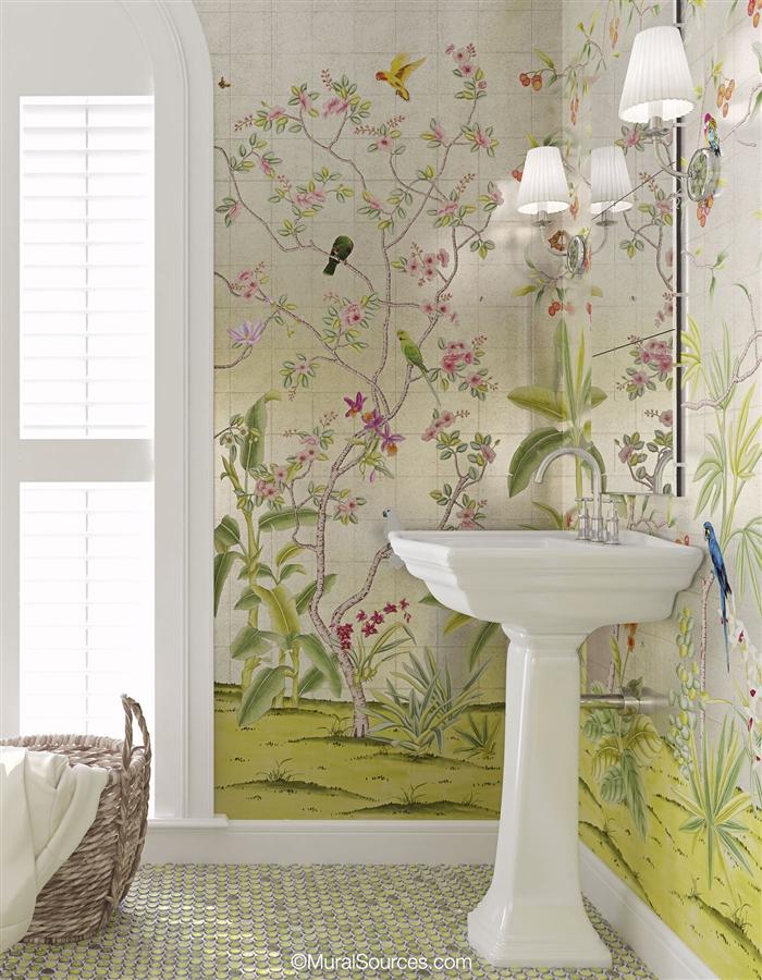 Enchanted Garden Silver   Chinoiserie Mural Wallpaper   MuralSources.com