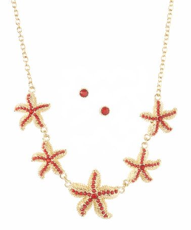 Loving this Goldtone & Red Starfish Necklace & Stud Earrings on #zulily! #zulilyfinds