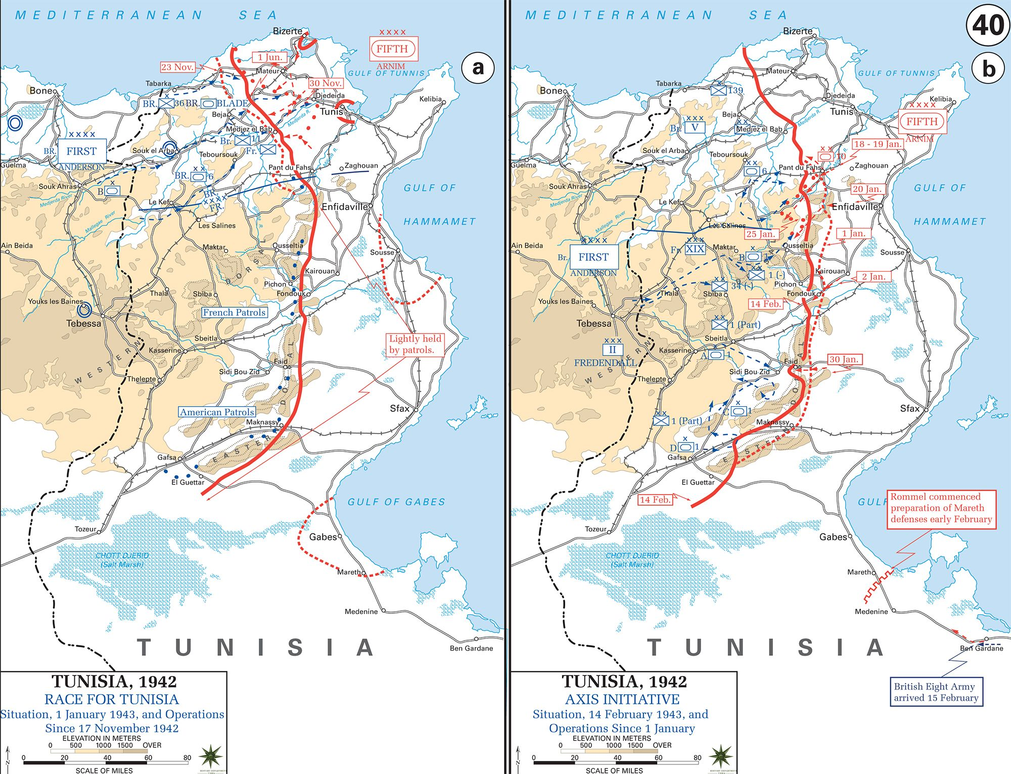 Map of WWII Tunisia 194243 Race for Tunis November 17 1942