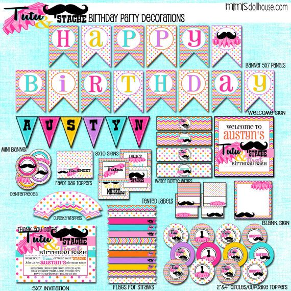 Tutu  Stache Decorations- Printable Tutu and Mustache Birthday
